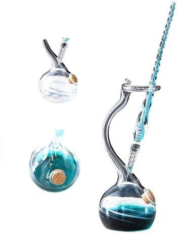 Sunkey Handmade Glass Dip Pen Holder Feather Pen Color Ink Crystal Drip Fountain Pen